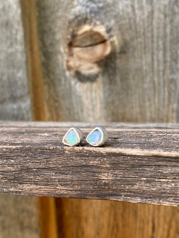 Gorgeous Rough-cut opal & sterling silver Stud Earrings