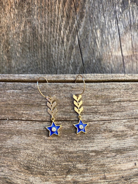 Blue Star Enamel Chevron  Earring