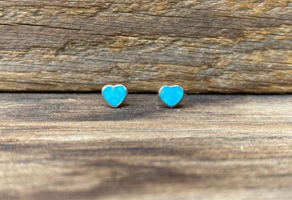 Tiny Heart Stud Earrings in Turquoise