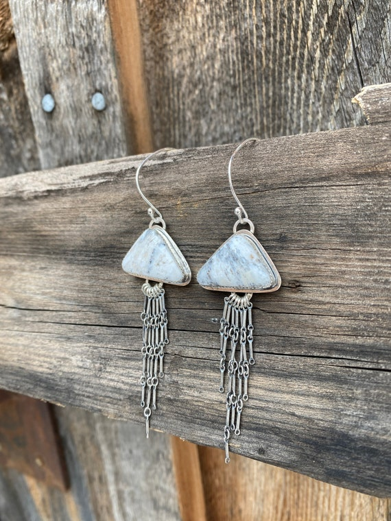 White buffalo turquoise triangle fringe earrings