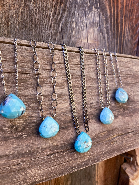 Sleeping beauty turquoise briolette necklace on sterling chain
