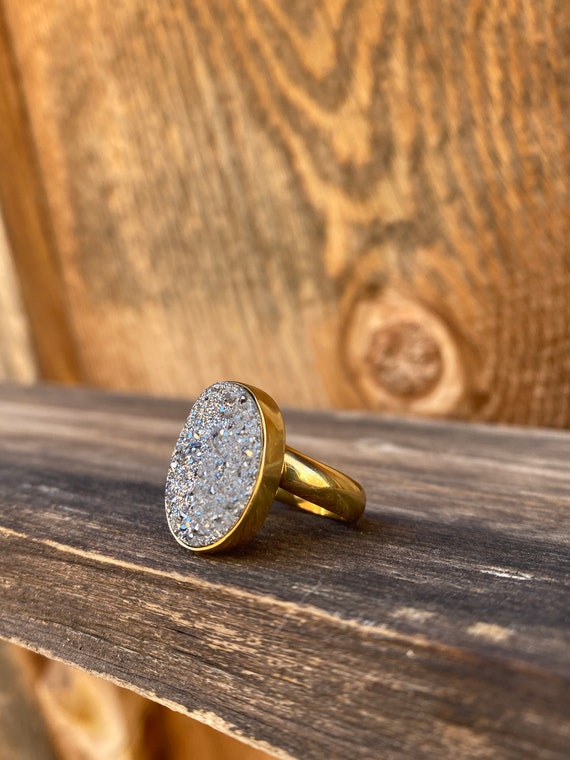 Silver druzy & Gold Alchemia Adjustable Ring
