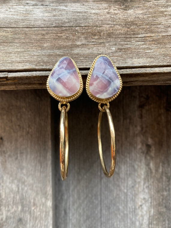 Agate Post Hoop Earring