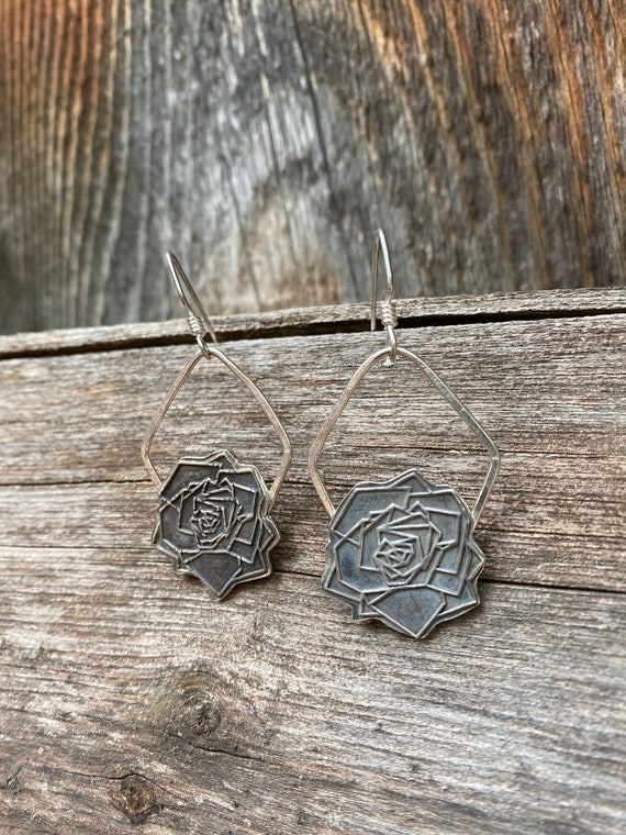 Sterling Silver Geometric Rose Hoop Earrings