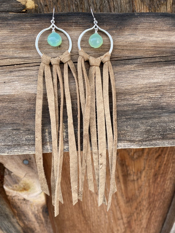 Light brown leather fringe earrings with blue green chalcedony