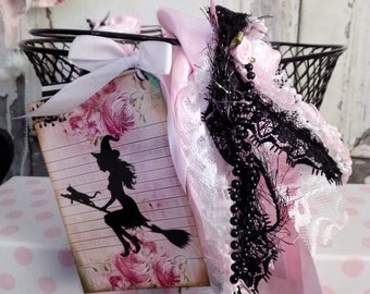 PINK & Black Halloween Witch Basket / Shabby Chic / Pink Roses, Lace, Bows, Black Lace, Tags, Pink Satin Roses / Romantic Elegant / Original