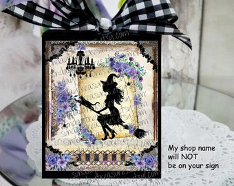 PurpleHalloween Tiered Tray Decor / Black Witch Black Cat Purple Shabby Chic Roses  / Romantic Halloween Decor Decoration / Gifts For Her
