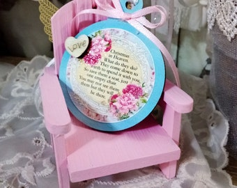 Personalized Pink Chair Christmas In Heaven What Do They Do Ornament / Pink Christmas / In Memory Loss of Loved One / Tiered Tray Decor