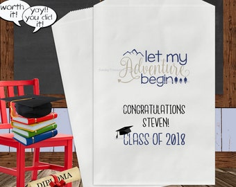 10 Pak Graduation 2018 Favor Bags / Let My Adventure Begin / 5x7 / Boy Girl / Personalized / Popcorn Cookie Candy Gift Bags / 3 Day Ship
