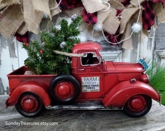 sale personalized vintage metal red truck with christmas tree black scottie dog christmas farm truck centerpiece christmas arrangement
