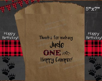 12 PAK 5x7 Happy Camper Lumberjack Camping Woodland / 1st Birthday Boy Girl / Party Favor Gift Treat Bag / Personalized