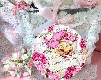 1 Shabby Chic Pink Vintage Santa Christmas Wood Ornament / Pink Roses Santa Claus / Pink Santa Hat / Romantic Shabby Pink Country Christmas