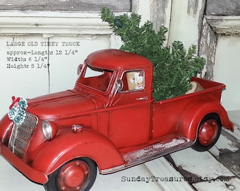 SALE Large Metal Old Fashioned Red Truck Christmas Decor / Primitive / Centerpiece / Christmas Tree  / Christmas Arrangement / Vehicle