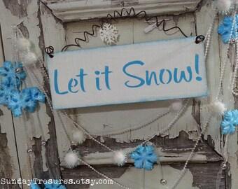 Aqua Turquoise Let It Snow wood SiGN Wall Hanging / Shabby Retro Modern Christmas Winter Decor / 3 Day Ship