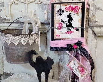 PINK Halloween Witch Black Cat Canvas Sign / Shabby Chic Witch Decor Sign / Pink Roses Lace Bows / Romantic Halloween Plaque Wall Hanging