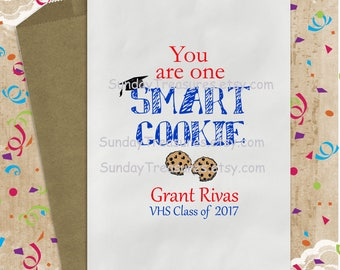 10 Pak Graduation Favor Bags / You Are One Smart Cookie 5x7 / Royal Red Green Navy Gold Purple Orange Gold Popcorn Cookie Candy  3 Day Ship