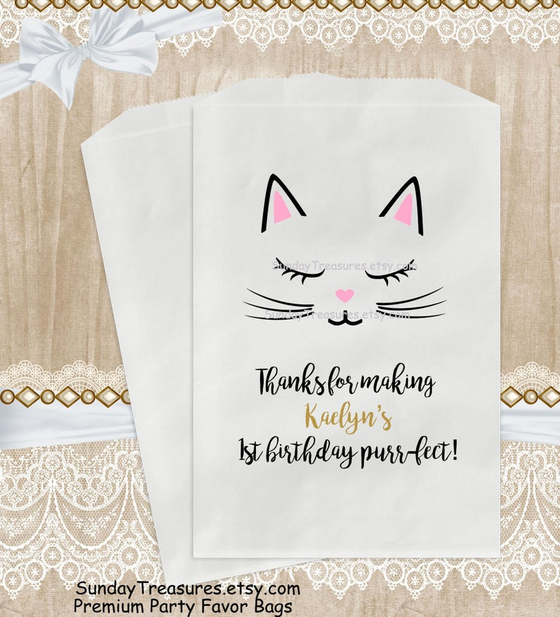 12 PAK Kitty Cat Birthday Party Favor Bags  5x7  Candy Popcorn Cookie   Baby Toddler Teen Girl Sweet 16 Personalized  1 Day Ship