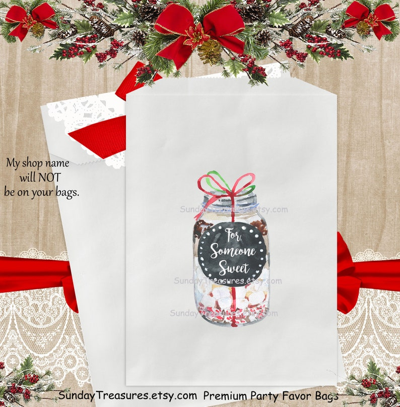 12 PAK Mason Jar Christmas Favor Bags  Candy Cookie Hot Cocoa Packets Pouch   Includes JPG  DIGITAL Download Matching Tags