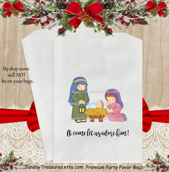 Christmas Gift Bags For Kids.12 Pak Nativity Christmas Party Favor Bags 5x7 Sz Kids Teacher Class Coworkers Candy Cookie Hot Cocoa Packets Pouch Christmas Gift Bag