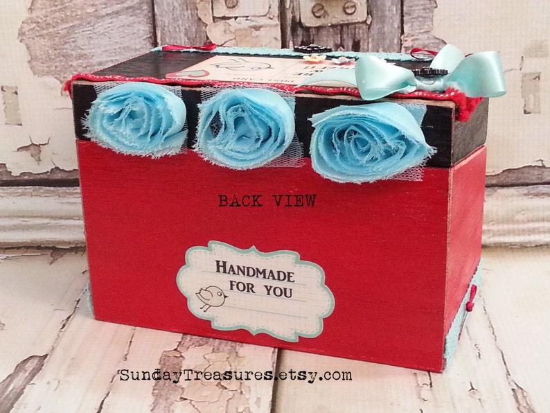 Vintage Sewing Girl Wood Sewing Box  Seamstress  4x6 Box  Craft Thread Ribbon Box  Organizing Storage  Ready To Ship