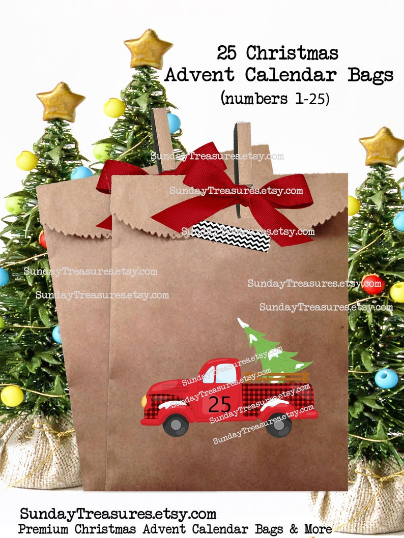 25 Pak Red Christmas Truck Advent Calendar Favor Bags 5x7 Days Until Christmas Goody Candy Cookie Country Christmas Decoration Decor