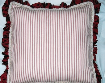 SALE Country/ Cottage Chic Stripe Red and White pillow cases. Set of two.