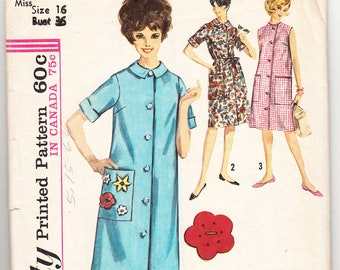 0b9da42b5f Vintage 1963 Simplicity 5251 Sewing Pattern Misses  Duster Size 16 Bust 36
