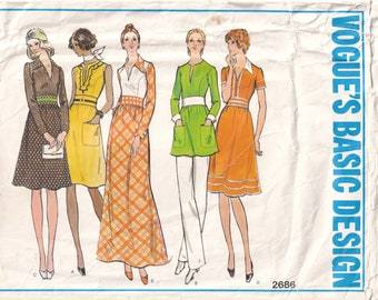Factory folded and Uncut Tom and Linda Platt Vogue American Designer Pattern #2686 Size: 12-14-16 Hip 36-40 Waist 26.5-30 Bust 34-38
