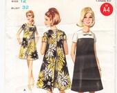 Vintage 1967 Butterick 4564 UNCUT Sewing Pattern Misses 39 One-Piece Dress Size 12 Bust 32