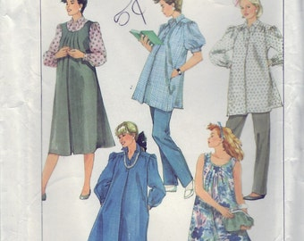 d68916e671324 Vintage 1986 Simplicity 7645 UNCUT Sewing Pattern Misses' Maternity Pants,  Dress, or Top and Sundress or Jumper Size 14 Bust 36