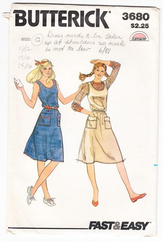 Vintage de 1970 Butterick 3680 costura patrón joven Junior