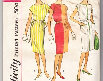 Vintage 1962 Simplicity 4469 Sewing Pattern Misses' One-Piece Dress Size 14 Bust 34