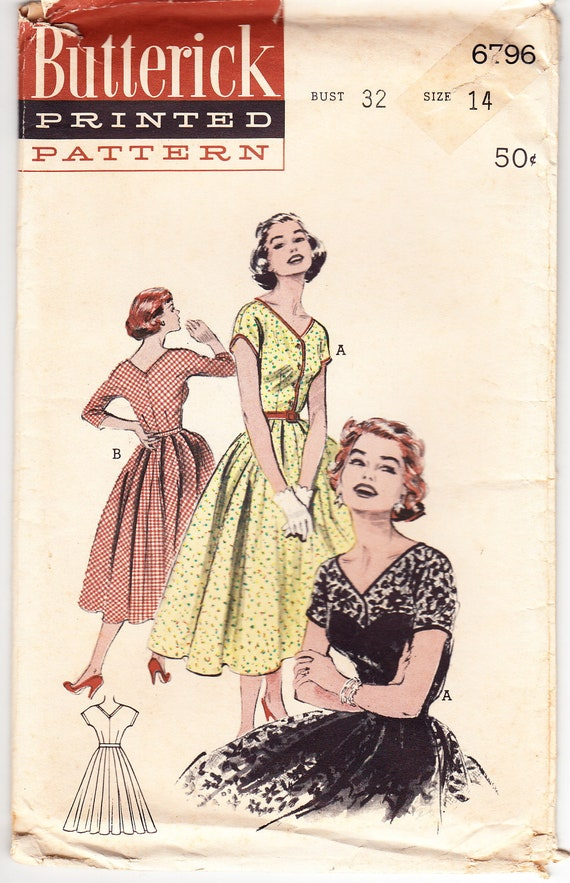 Vintage 1953 Butterick 6796 Sewing Pattern Misses' One-Piece Dress - Wide V-Neckline Size 14 Bust 32