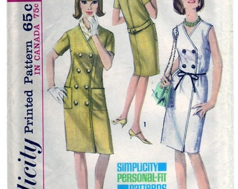 Vintage 1965 Simplicity 6000 UNCUT Sewing Pattern Misses' One-Piece Dress Size 12 Bust 32