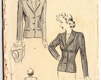 Vintage 1940s Butterick 2503 Sewing Pattern Women's and Misses' Tailored Jacket Size 12 Bust 30