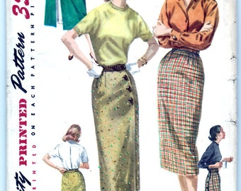 Vintage 1956 Simplicity 1688 Sewing Pattern Misses' Wrap-Around Skirt Size 24