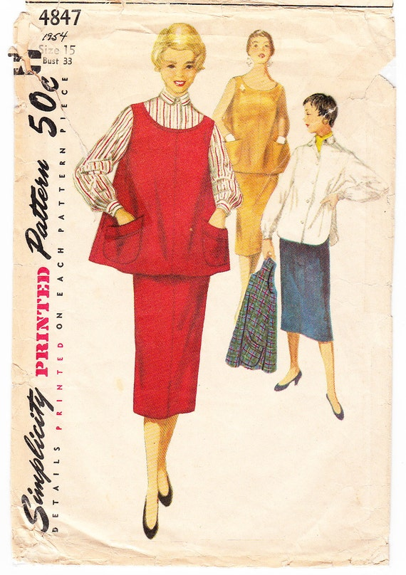 Vintage 1954 Simplicity 4847 Sewing Pattern Maternity Three Etsy