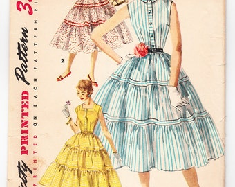 Vintage 1955 Simplicity 1082 Sewing Pattern Junior Misses' One-Piece Dress Size 13 Bust 31