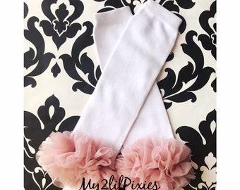 baby girl leg arm warmers with chiffon ruffle polka dots with pink