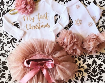 2a20b2278256 My First Christmas Baby Girl Bodysuit, Christmas outfit, Vintage Pink and  gold , Bodysuit, Tutu Bloomer, Headband and leg warmers.