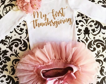 6c56d6c7f My First Thanksgiving Baby Girl Bodysuit, Thanksgiving outfit, Vintage Pink  and gold , Bodysuit, Tutu Bloomer and Headband, Ready to ship