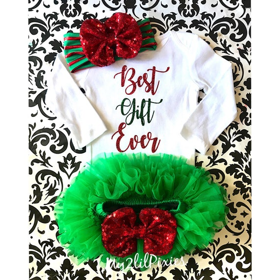 7050199919a5 Best Gift Ever baby girl set Christmas baby outfit Christmas | Etsy