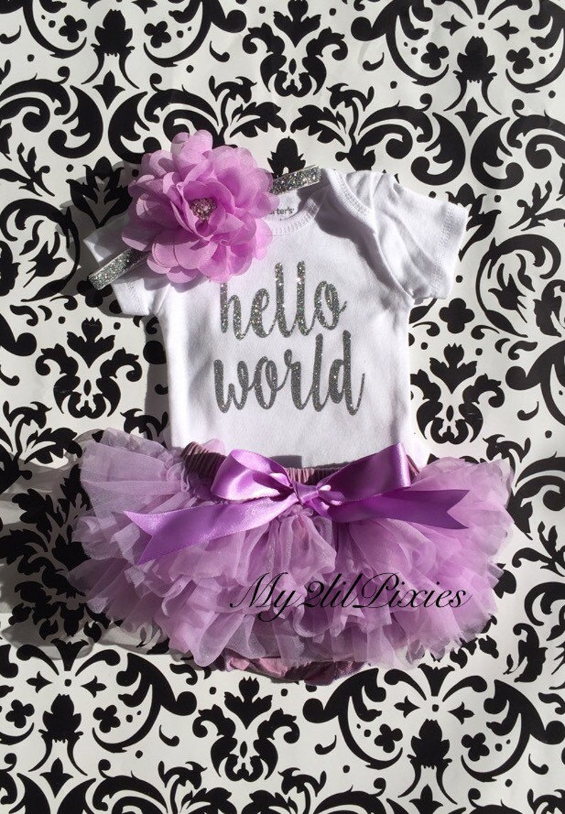 Bloomer Baby Girl Take home outfit Onesie and Headband set- Hello World Personalized Newborn Set baby clothing Newborn baby Girl Onesie