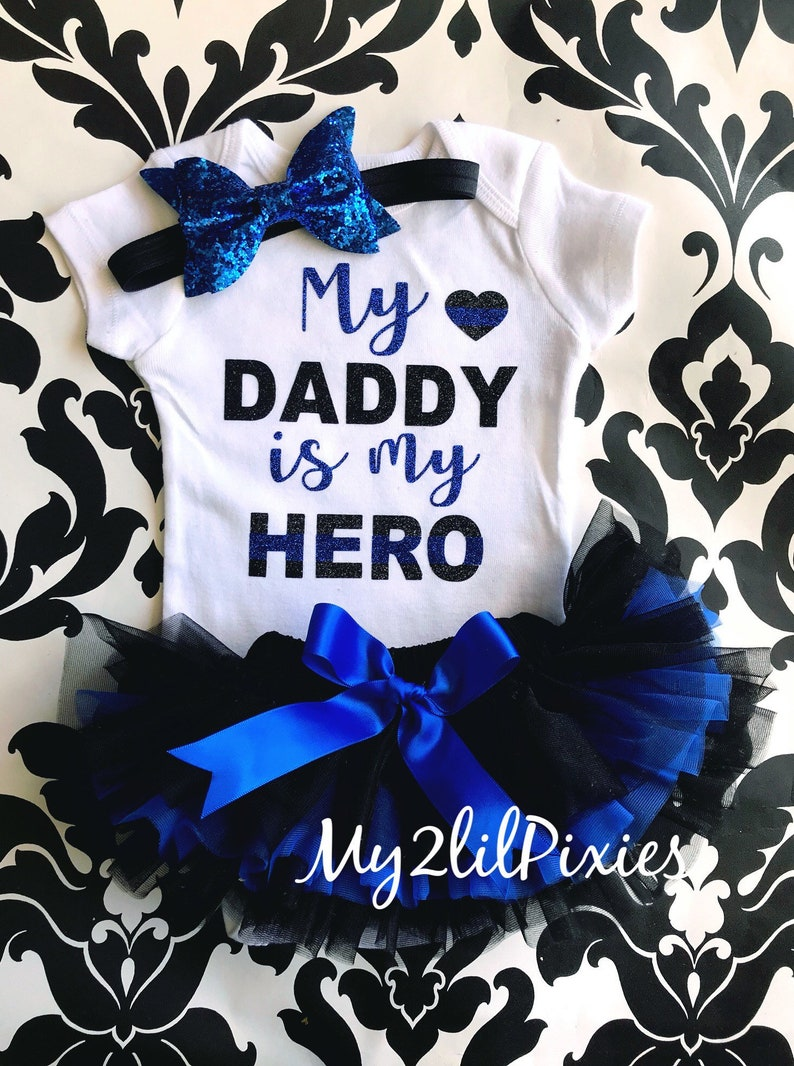 4e60c6bcac6c1 Thin blue line Bodysuit, Law Enforcement, My Daddy is my Hero Bodysuit,  baby girl back the Blue Outfit, blue lives matter