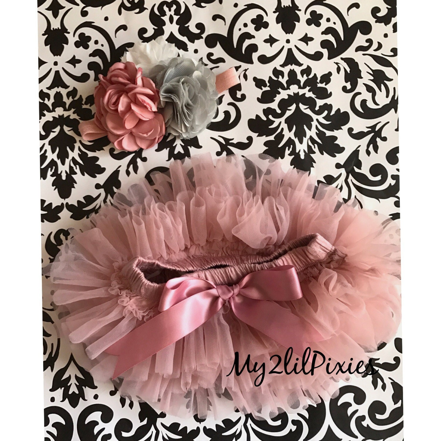 Baby Headband And Tutu Bloomers Vintage Pink Girl Etsy Dress Flower 0 2th Newborn Tutubaby Bloomer Diaper Cover Gift