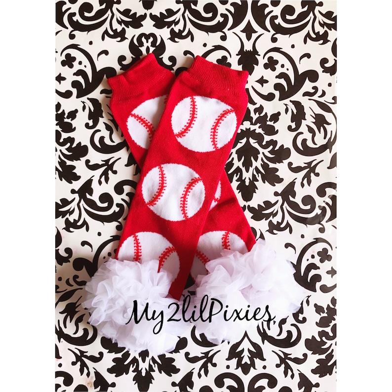 Ruffle Bum Baby Bloomer Red Bloomers Baseball Leg warmers Baby Bloomer and Baby leg warmers Girls Baseball leg warmers