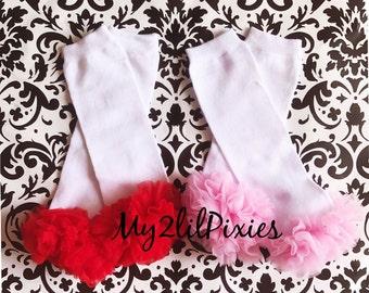 LEG WARMERS with ruffles , baby girl leggings, girls stretchy leg warmers, chiffon ruffle baby leg warmers, ruffle socks Ready to ship
