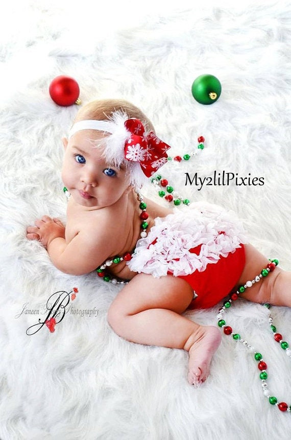Christmas Headband For Baby Girl.Baby Girl Christmas Set Christmas Headband Chiffon Ruffle Baby Bloomers Baby Girl Snowflake Headband Baby Bow Christmas Hair Bow