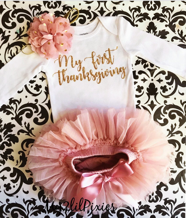 5b0d36733 My First Thanksgiving Baby Girl Bodysuit Thanksgiving outfit