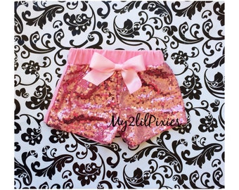 PINK SEQUINS SHORTS , Baby Girls pink Sparkle Sequin Shorts-  girls birthday outfit- girls sequin shorts-toddler shorts- toddler shorts